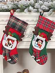 abordables -cadre photo transparent chaussettes de Noël à carreaux sac cadeau pour enfants à la maison sacs bonbons bas