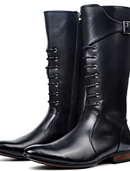 cheap -Men's Fashion Boots Synthetics Winter / Fall & Winter Casual / British Boots Non-slipping Knee High Boots Black / Party & Evening