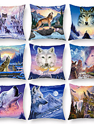 cheap -Animal Wolf Air Conditioning Pillow Case Digital Print Pillow Case Without Core Peach Cashmere Pillow Case
