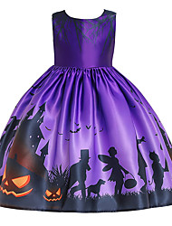 cheap -Kids Toddler Girls' Active Cute Floral Color Block Halloween Pleated Lace up Print Sleeveless Knee-length Dress Purple