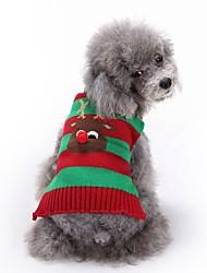 abordables -Chiens Pull Hiver Vêtements pour Chien Noir Vert Rouge Costume Corgi Beagle Shiba Inu Fibres acryliques Rayure Animal Renne Halloween Noël XXS XS S M L XL