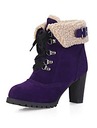 cheap -Women's Boots Snow Boots Chunky Heel Round Toe Suede Booties / Ankle Boots Classic / British Winter Black / Brown / Purple