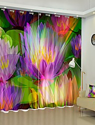 cheap -Colorful Water Lily Digital Printing 3D Curtain Shading Curtain High Precision Black Silk Fabric High Quality Curtain