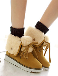 cheap -Women's Boots Snow Boots Flat Heel Round Toe Suede Mid-Calf Boots Casual Fall & Winter Black / Almond / Dark Brown