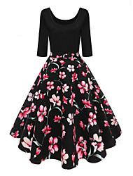 cheap -Women's A Line Dress - Geometric Print U Neck Black S M L XL