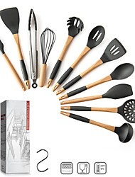 cheap -Silicone Kitchen Utensils Cooking Utensil Set - Cooking Utensils Tools with Wooden Handles Include Turner Tongs Spatula Spoon for Nonstick Cookware Non-Toxic Heat Resistant (11 PCS)