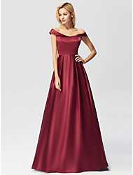 cheap -Women's Formal Evening A Line Dress - Solid Colored Wine S M L XL