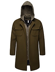 cheap -Men's Spring Hooded Coat Long Solid Colored Daily Basic Long Sleeve Army Green US36 / UK36 / EU44 US38 / UK38 / EU46 US40 / UK40 / EU48 US42 / UK42 / EU50