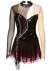 cheap -Figure Skating Dress Women's Girls' Ice Skating Dress Dark purple Violet Black and Purple Spandex Competition Skating Wear Handmade Solid Colored Fashion Long Sleeve Ice Skating Figure Skating