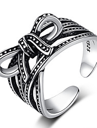 cheap -Women's Open Cuff Ring 1pc Black S925 Sterling Silver Folk Style Steampunk Gift Daily Jewelry Bowknot