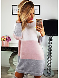 cheap -Women's Sweater Dress - Long Sleeve Color Block Crew Neck Street chic Daily Wear Blushing Pink S M L XL