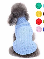cheap -Dog Sweater Puppy Clothes Solid Colored Simple Style Fashion Dog Clothes Puppy Clothes Dog Outfits Yellow Red Light Green Costume for Girl and Boy Dog Acrylic Fibers XS S M L