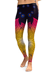 cheap -Women's Sporty Comfort Gym Yoga Leggings Pants Patterned Full Length Yellow