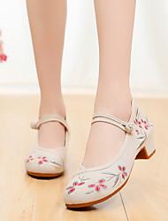 cheap -Women's Modern Shoes / Ballroom Shoes Canvas Heel Flat Heel Dance Shoes Black / Red / Pink / Performance