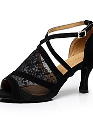cheap -Women's Dance Shoes Lace Latin Shoes Splicing Heel Cuban Heel Customizable Black / Performance / Leather