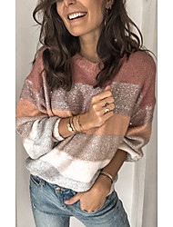 cheap -Women's Color Block Long Sleeve Loose Pullover Sweater Jumper, Round Winter Blushing Pink S / M / L