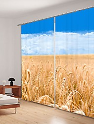 cheap -Golden Yellow Wheat Field Digital Printing Under Blue Sky 3D Curtain Shading Curtain High Precision Black Silk Fabric High Quality Curtain