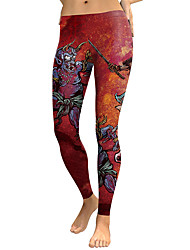 cheap -Women's Sporty Comfort Gym Yoga Leggings Pants Patterned Full Length Wine
