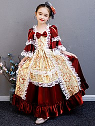 cheap -Princess Cosplay Lolita Rococo Dress Party Costume Masquerade Costume Girls' Kid's Vintage Style Costume Red and White Vintage Cosplay Half Sleeve Tea Length