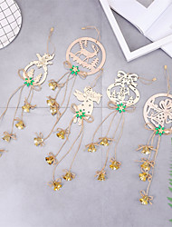 cheap -5pcs Snowflake Rustic Wooden Ornaments Merry Christmas Tree Hanging  Decorations For Home