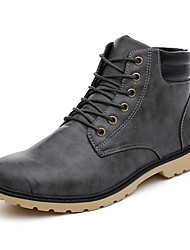 cheap -Men's Combat Boots PU Fall & Winter Boots Booties / Ankle Boots Black / Yellow / Gray