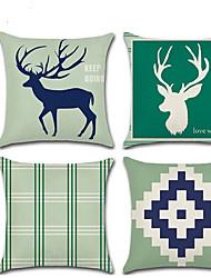 cheap -Halloween Decoration Reindeer Deer Head Plaid Geometric Theme Linen Pillow Car Home Decoration Pillowcase
