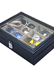 cheap -Leather Multi Sunglasses Organizer for Women Men, Eyeglasses Eyewear Display Case, Jewelry Watch Organizer, Sunglasses Jewelry Collection Case, Sunglass Glasses Storage Holder Box with 8 Slots