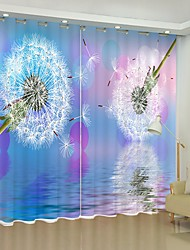 cheap -Dandelion Digital Printing in Front of Color Background 3D Curtain Shading Curtain High Precision Black Silk Fabric High Quality Curtain