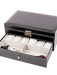 cheap -Watch Box Organizer 2 Tier PU Leather Watch Case Display Organizer for Jewelry Watch,Rings,Lock