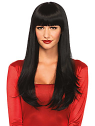 cheap -Human Hair Capless Wigs Human Hair Straight / Natural Straight Layered Haircut / Asymmetrical / Side Part / Neat Bang Style Party / Comfortable / Natural Hairline Black Very Long Capless Wig Women's