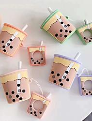 Недорогие -применимые airpods беспроводная гарнитура bluetooth набор творческий чай с молоком чашка apple силиконовый сплит защитный чехол 1 шт.