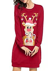 cheap -Women's Red Black Dress Elegant Christmas Party Shift Animal Print S M