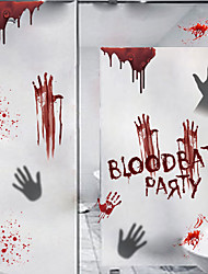 cheap -Halloween Bloodbath Party PVC Wall Stickers - Plane Wall Stickers Transportation / Landscape Study Room / Office / Dining Room / Kitchen