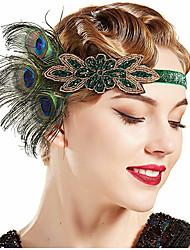 cheap -The Great Gatsby Vintage 1920s The Great Gatsby Gloves Flapper Headband Women's Feather Costume Head Jewelry Fascinators Green Vintage Cosplay Festival / Headwear / Headwear