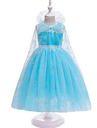 cheap -Kids Girls' Jacquard Mesh Dress Light Blue