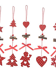 cheap -5pcs DIY Christmas Red Snowflakes & Star And Tree Wooden Pendants Christmas Party Kids Gifts