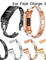cheap -Watch Band Wrist Strap For Fitbit Charge 3 Metal Stainless Steel Rhinestone Bracelet Wristband