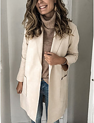 cheap -Women's Daily Fall & Winter Long Coat, Solid Colored Notch Lapel Long Sleeve Polyester Black / Beige / Gray