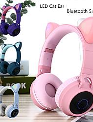 abordables -litbest led chat oreille annulation casque bluetooth 5.0 jeunes enfants casque support tf carte 3.5mm prise avec micro