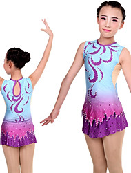 cheap -Rhythmic Gymnastics Leotards Artistic Gymnastics Leotards Women's Girls' Leotard Purple Spandex High Elasticity Handmade Print Jeweled Long Sleeve Competition Ballet Dance Ice Skating Rhythmic
