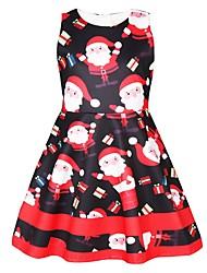 cheap -Kids Girls' Active Sweet Christmas Print Sleeveless Knee-length Dress Black