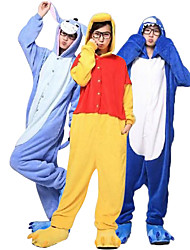 cheap -Kigurumi Kigurumi Pajamas Shark Animal Onesie Pajamas Coral fleece Yellow / Ink Blue / Blue Cosplay For Unisex Animal Sleepwear Cartoon Festival / Holiday Costumes / Leotard / Onesie / Slippers