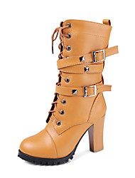 cheap -Women's Boots Chunky Heel Round Toe Rivet PU Mid-Calf Boots Vintage / British Fall & Winter Black / Brown / White / Party & Evening