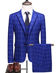 cheap -Royal Blue Checkered Slim Fit Polyester Suit - Notch Single Breasted Two-buttons