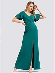cheap -Women's Wedding Formal Evening Elegant A Line Dress - Solid Colored Split Green S M L XL
