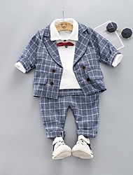 cheap -Baby Boys' Casual Houndstooth Bow Long Sleeve Long Regular Clothing Set Blue