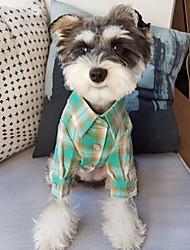 abordables -Chien Tee-shirt Chemise Vêtements pour Chien Orange Vert Costume Coton Tartan S M L XL XXL