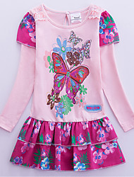 cheap -Kids Girls' Cute Chinoiserie Butterfly Tropical Leaf Plants Floral Trees / Leaves Embroidered Print Long Sleeve Knee-length Dress Blushing Pink / Cotton