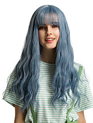 cheap -Synthetic Wig Bangs Natural Straight Side Part Neat Bang With Bangs Wig Ombre Long Blue Synthetic Hair 24 inch Women's Cosplay Women Synthetic Blue Ombre HAIR CUBE / Ombre Hair