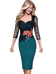 cheap -Women's Elegant Slim Bodycon Dress - Floral Lace Print Deep V Purple Yellow Red S M L XL